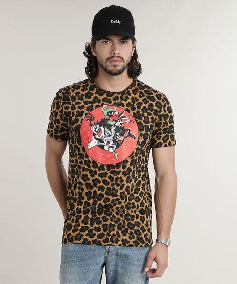 Camiseta-Masculina-Looney-Tunes-Estampada-Animal-Print-Manga-Curta-Gola-Careca-Caramelo-9759809-Caramelo_1