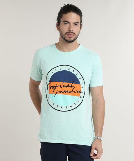 Camiseta-Masculina--Tropical-Paradise--Manga-Curta-Gola-Careca-Verde-Claro-9739290-Verde_Claro_1