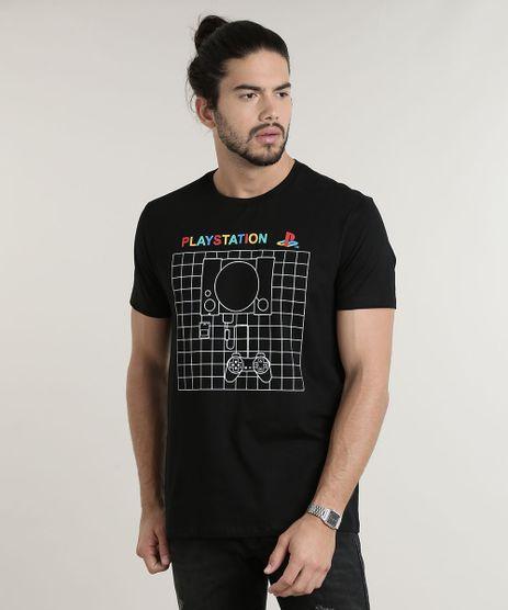 Camiseta-Masculina-PlayStation-Manga-Curta-Gola-Careca-Preta-9781568-Preto_1