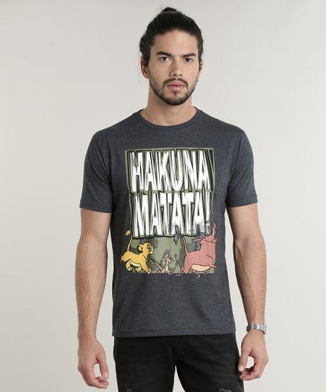 Camiseta-Masculina-O-Rei-Leao--Hakuna-Matata--Manga-Curta-Gola-Careca-Cinza-Mescla-Escuro-9778073-Cinza_Mescla_Escuro_1
