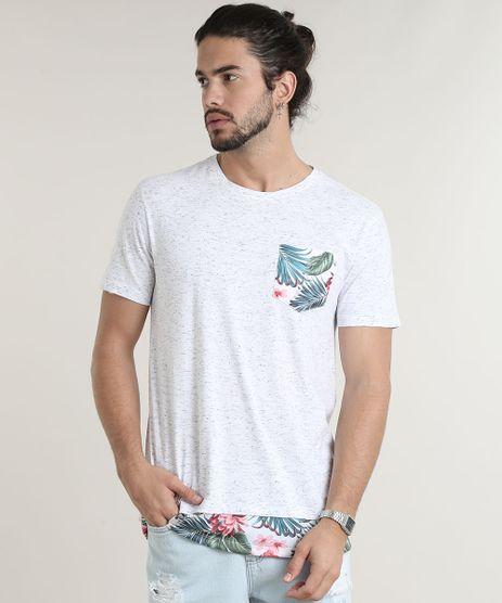 Camiseta-Masculina-Longa-com-Bolso-Estampado-de-Folhagem-Manga-Curta-Gola-Careca-Branca-9780473-Branco_1