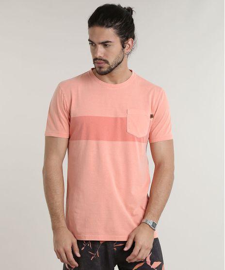 Camiseta-Masculina-com-Listra-e-Bolso-Manga-Curta-Gola-Careca-Coral-9735392-Coral_1
