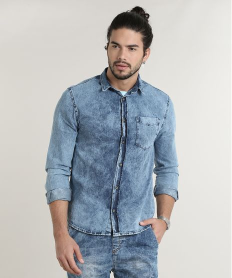 Camisa-Jeans-Masculina-Tradicional-com-Bolso-Manga-Longa-Azul-Medio-9588237-Azul_Medio_1