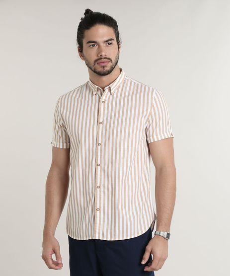 Camisa-Masculina-Comfort-Fit-Listrada-Manga-Curta-Caramelo-9523399-Caramelo_1