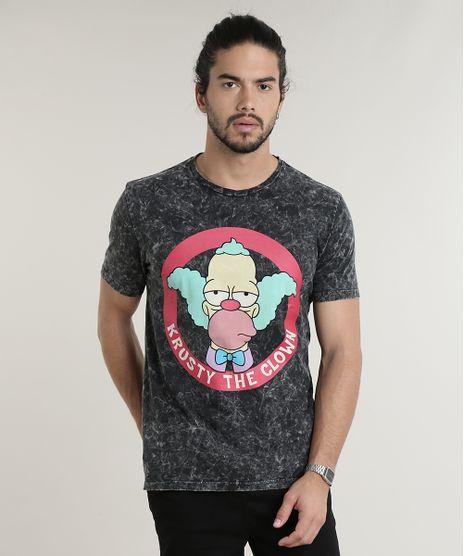 Camiseta-Masculina-Krusty-Os-Simpsons-Marmorizada-Manga-Curta-Gola-Careca-Chumbo-9714341-Chumbo_1