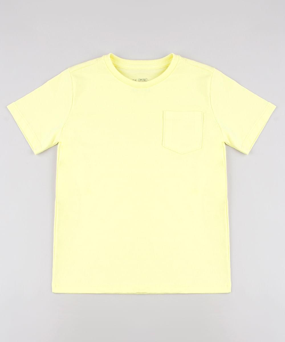 Camiseta Infantil Básica com Bolso Manga Curta Amarela
