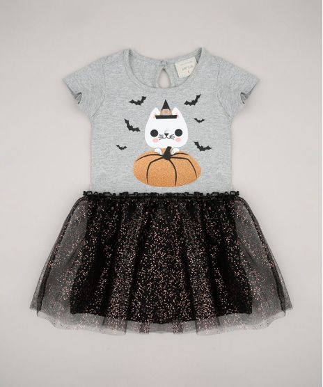Vestido-Infantil-Halloween-Gatinho-com-Tule-Sem-Manga-Cinza-Mescla-9708692-Cinza_Mescla_1