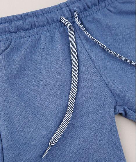 mejor valor a1b36 a7080 Bermuda Infantil em Moletom com Bolso Azul
