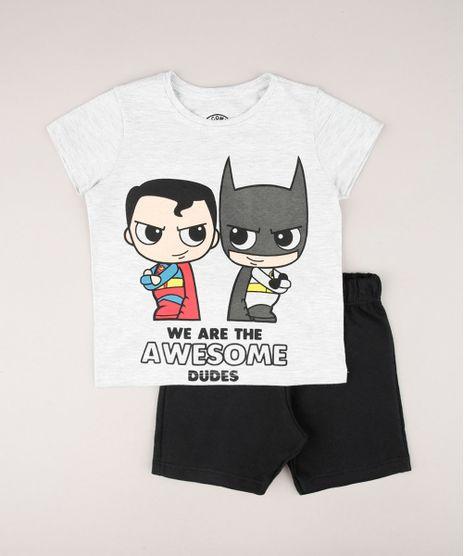 Conjunto-Infantil-Batman-e-Super-Homem-de-Camiseta-Manga-Curta-Cinza-Mescla-Claro---Bermuda-em-Moletom-Preta-9752864-Preto_1