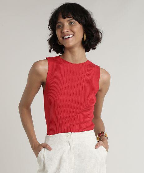 Regata-Feminina-Canelada-em-Trico-Decote-Redondo-Vermelha-9697828-Vermelho_1