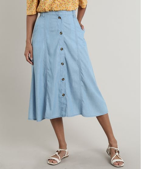 Saia-Jeans-Feminina-Midi-com-Botoes-e-Bolsos-Azul-Claro-9758591-Azul_Claro_1