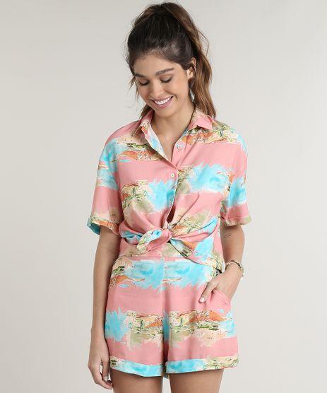 Camisa-Feminina-Estampada-Praia-Aquarelada-com-Fenda-Manga-Curta-Rosa-9703821-Rosa_1