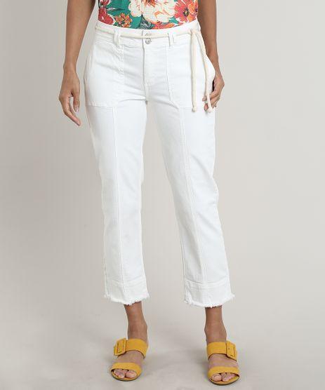 Calca-de-Sarja-Feminina-Cropped-Barra-Desfiada-com-Recortes-e-Cinto--Off-White-9753908-Off_White_1