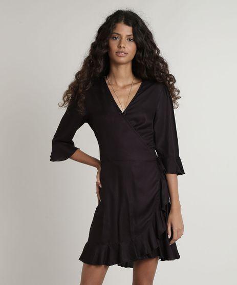 Vestido-Feminino-Curto-Envelope-Manga-3-4-Preto-9645433-Preto_1