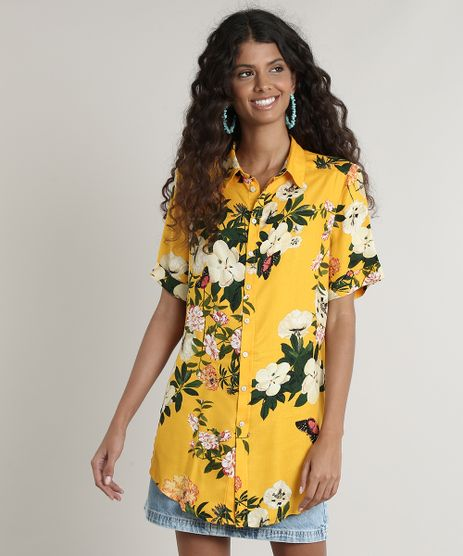 Camisa-Feminina-Estampada-Floral-com-Fenda-Manga-Curta-Amarelo-9645421-Amarelo_1