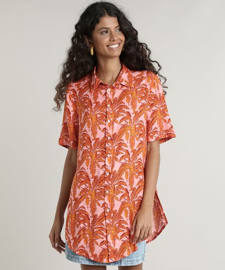 Camisa-Feminina-Estampada-de-Folhagens-com-Fenda-Manga-Curta-Rosa-9645430-Rosa_1