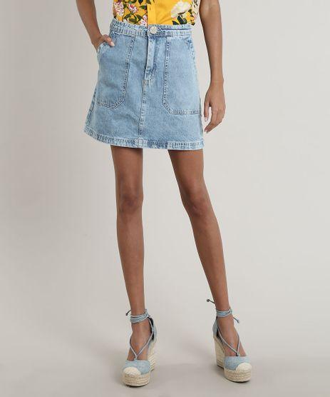 Saia-Jeans-Feminina-Curta-com-Bolsos-Azul-Claro-9750188-Azul_Claro_1