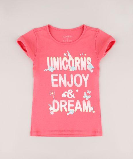 Blusa-Infantil--Unicorns--com-Glitter-Manga-Curta-Coral-9756256-Coral_1