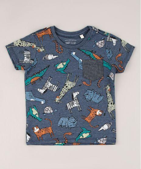 Camiseta-Infantil-Estampada-de-Bichos-com-Bolso-Manga-Curta-Azul-9765965-Azul_1
