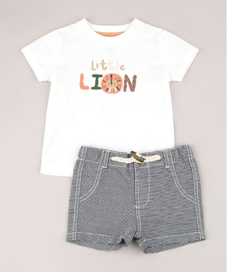 Conjunto-Infantil-de-Camiseta--Little-Lion--Manga-Curta-Off-White---Bermuda-Listrada-Chumbo-9574529-Chumbo_1