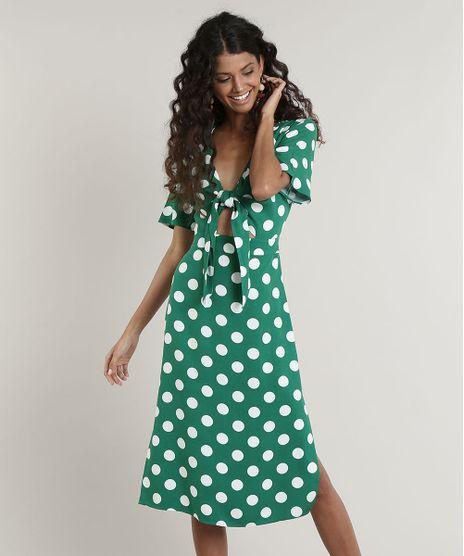 Vestido-Feminino-Midi-Estampado-de-Poa-com-No-Manga-Curta-Verde-9643842-Verde_1