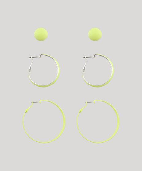 Kit-de-3-Brincos-Femininos-de-Argola-e-Bolinha-Amarelo-Neon-9650258-Amarelo_Neon_1