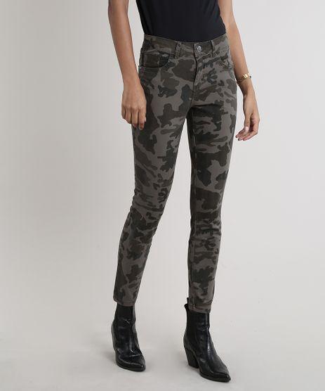 Calca-de-Sarja-Feminina-Skinny-Estampada-Camuflada-Verde-Militar-9243332-Verde_Militar_1
