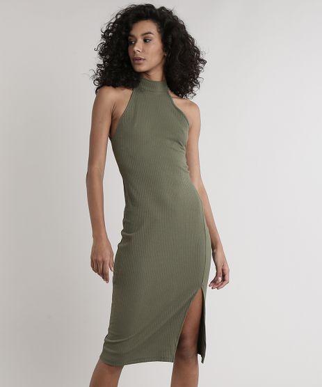 Vestido-Feminino-Midi-Halter-Neck-Canelado-com-Fenda-Gola-Alta-Verde-Militar-9611887-Verde_Militar_1