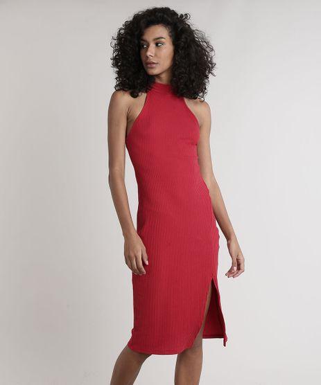 Vestido-Feminino-Midi-Halter-Neck-Canelado-com-Fenda-Gola-Alta-Vermelho-9611887-Vermelho_1