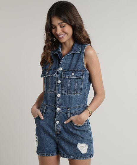 Macaquinho-Jeans-Feminino-com-Bolsos-e-Rasgos-Sem-Manga-Azul-Escuro-9750177-Azul_Escuro_1