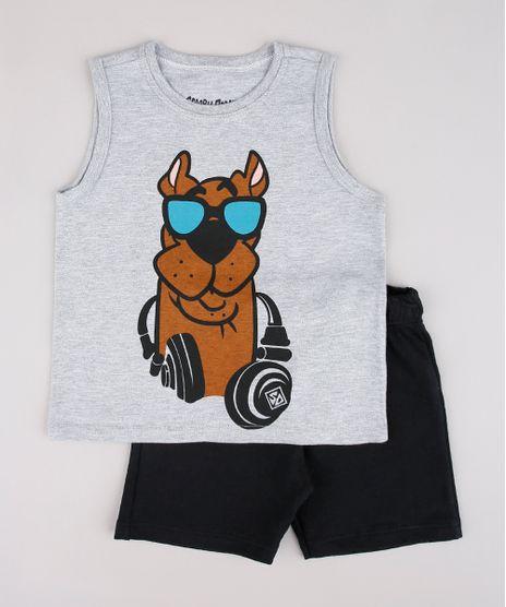 Conjunto-Infantil-Scooby-Doo-de-Regata-Cinza-Mescla-Claro---Bermuda-em-Moletom-Preta-9752862-Preto_1
