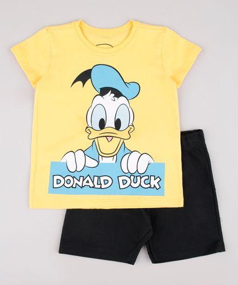 Conjunto-Infantil-Pato-Donald-de-Camiseta-Manga-Curta-Amarela---Bermuda-em-Moletom-Preta-9752866-Preto_1