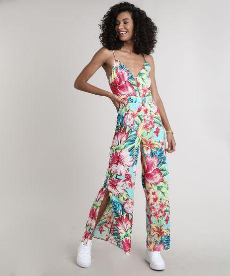 Macacao-Feminino-Estampado-Floral-Tropical-com-Fenda-e-Vazado-Decote-V-Alcas-Finas-Azul-9630045-Azul_1