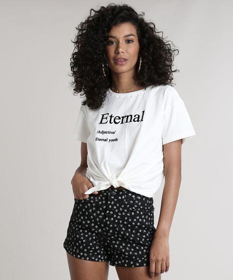 Blusa-Feminina--Eternal--com-Amarracao-Manga-Curta-Decote-Redondo-Off-White-9699274-Off_White_1