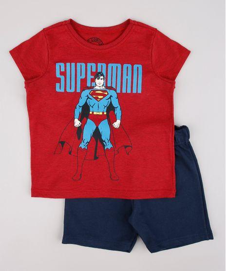 Conjunto-Infantil-Super-Homem-de-Camiseta-Manga-Curta-Vermelha---Bermuda-em-Moletom-Azul-Marinho-9752867-Azul_Marinho_1