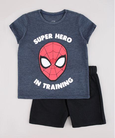 Conjunto-Infantil-Homem-Aranha-de-Camiseta-Manga-Curta-Azul---Bermuda-em-Moletom-Preta-9752865-Preto_1