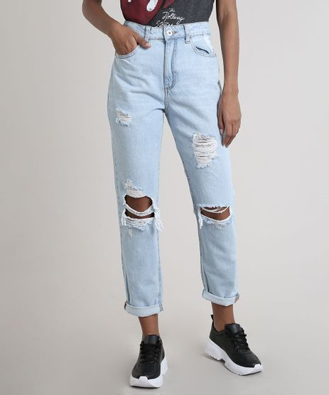 Calca-Jeans-Feminina-Mom-Destroyed-Azul-Claro-9828358-Azul_Claro_1