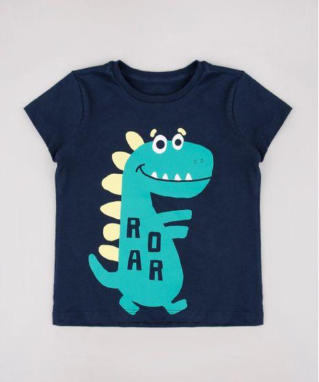 Camiseta-Infantil-Dinossauro--Roar--Manga-Curta-Azul-Marinho-9664952-Azul_Marinho_1