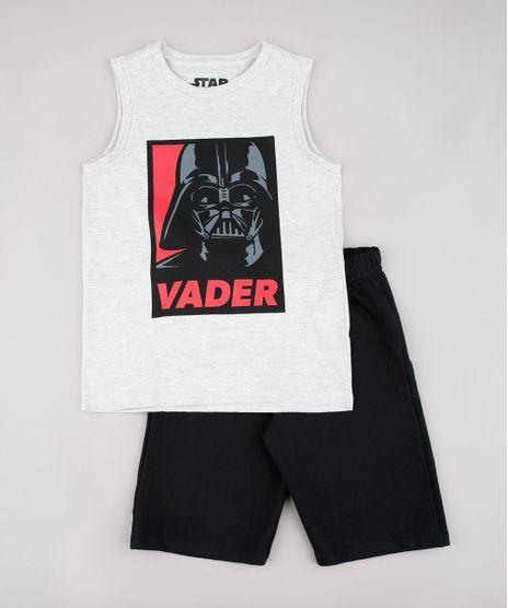 Conjunto-Infantil-Darth-Vader-Star-Wars-de-Regata-Cinza-Mescla-Claro---Bermuda-em-Moletom-Preta-9736692-Preto_1