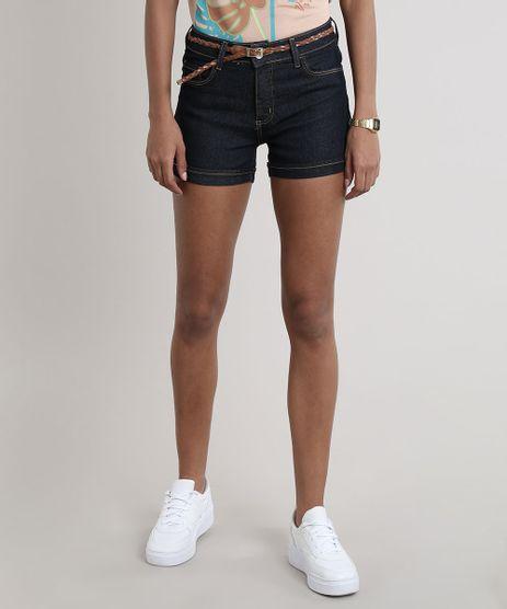 Short-Jeans-Feminino-Barra-Dobrada-com-Cinto-Azul-Escuro-9709484-Azul_Escuro_1