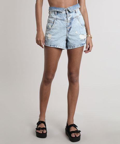 Short-Jeans-Feminino-Mom-com-Rasgos-e-Cos-Dobrado--Azul-Claro-9751062-Azul_Claro_1