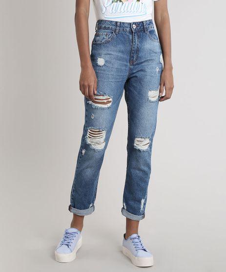 Calca-Jeans-Feminina-Mom-Destroyed-Azul-Medio-9751058-Azul_Medio_1