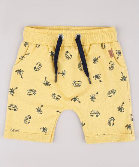 Bermuda-Infantil-Estampada-Tropical-em-Moletom-Amarela-9729578-Amarelo_1