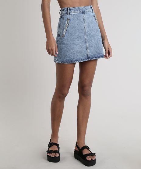 Saia-Jeans-Feminina-Curta-com-Ziper-de-Argola-Azul-Medio-9761049-Azul_Medio_1