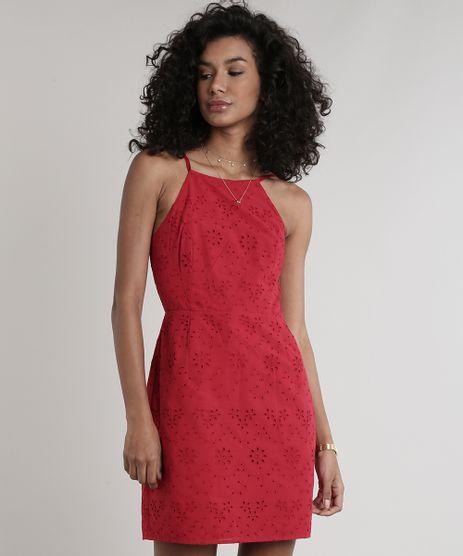 Vestido-Feminino-Curto-em-Laise-Alcas-Finas-Decote-Reto--Vermelho-9627719-Vermelho_1
