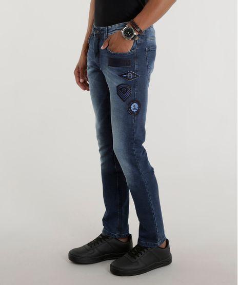 affc144e6 Calca-Jeans-Slim-com-Patchs-Azul-Medio-8512398-. Moda Masculina
