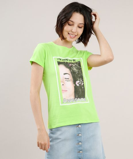 Blusa-Feminina--I-m-Here-to-Be-Awesome--Manga-Curta-Decote-Redondo-Verde-Neon-9712751-Verde_Neon_1