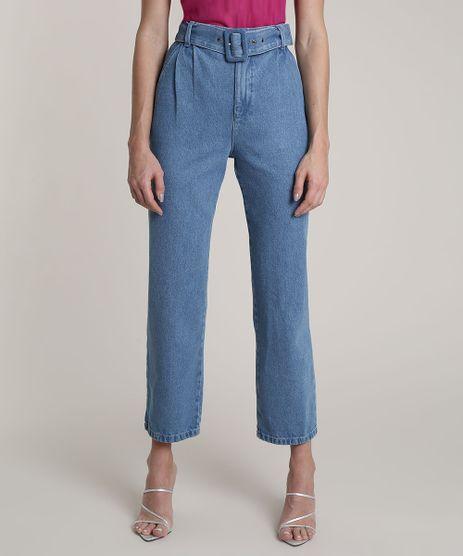 Calca-Jeans-Feminina-Mindset-Reta-com-Cinto-Azul-Medio-9839456-Azul_Medio_1