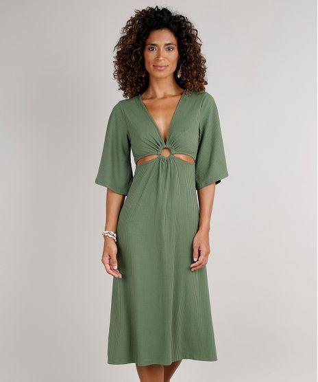 Vestido-Feminino-Midi-Canelado-com-Vazado-Manga-3-4-Verde-Militar-9588311-Verde_Militar_1
