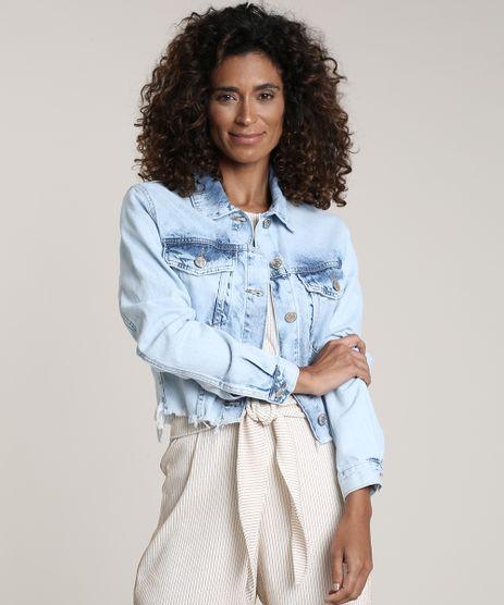 Jaqueta-Jeans-Feminina-Cropped-com-Barra-Desfiada-Azul-Claro-9750172-Azul_Claro_1